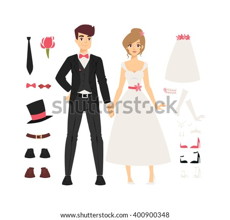 Wedding couple people vector illustration. Wedding couple isolated on white background. Wedding couple vector icon illustration. Wedding couple isolated vector. Wedding couple silhouette - stock vector