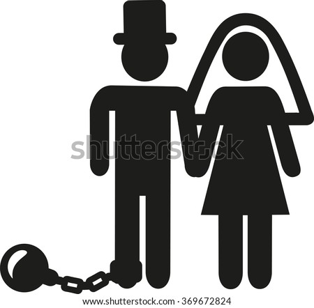 Wedding Couple pictogram man with shackle and iron ball - stock vector