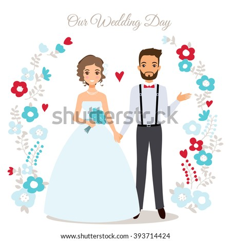 Wedding couple vector illustration. Cute wedding couple invitation card. Wedding couple isolated vector. Wedding couple silhouette. - stock vector