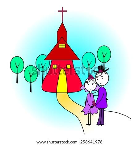 Wedding couple-Wedding couple in front of a church-Vector illustration - stock vector