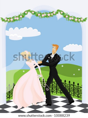 Wedding dance. Bride and groom dancing in an open terrace decorated with garlands. - stock vector