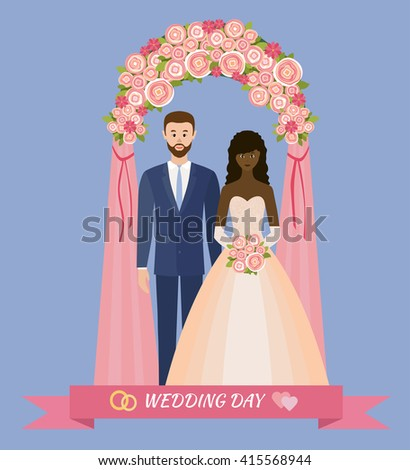 Wedding day. Bride and groom standing in wedding arch. Couple in love. Style flat. - stock vector