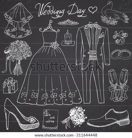 Wedding day elements. Hand drawn set with flowers candle bride dress and tuxedo suit, shoes, glasses for champagne and festive attributes. Drawing doodle collection, on chalkboard background. - stock vector