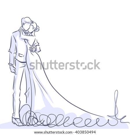 Wedding day invitation card with silhouette of couple. Romantic bride and groom are standing and embracing. Vector line color cartoon. - stock vector