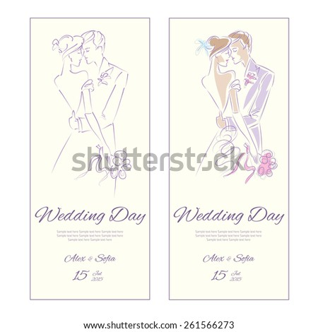 Wedding Day invitation with sweet couple illustration