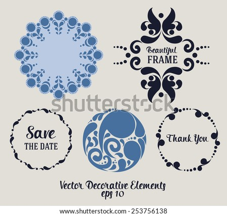 wedding decoration elements, classic graphic set, vector illustration - stock vector
