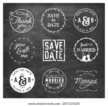 Wedding Design Elements, Badges and Labels on Chalkboard - stock vector