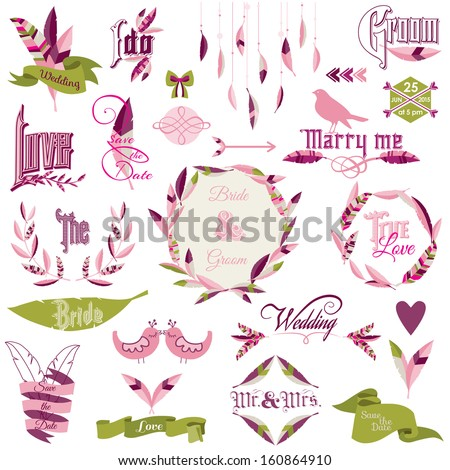 Wedding Design Elements - feathers, birds, arrows, ribbons, wreath - in vector  - stock vector