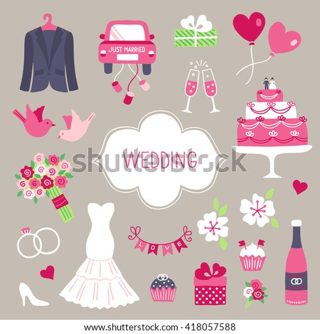 Wedding design elements. Smoking, car with cans, gift, balloon, dove, big cake, bouquet with roses, flowers, engagement rings, female shoe, cupcake, wedding dress, garland, champagne bottle, glasses - stock vector