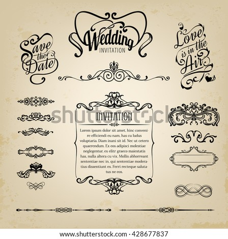 Wedding design elements, vintage set on old paper background