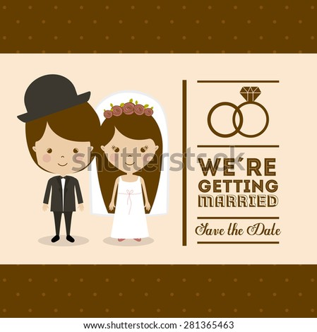 Wedding design over brown background, vector illustration