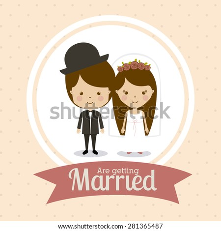 Wedding design over pink background, vector illustration
