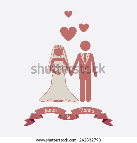 Wedding design over white background, vector illustration.