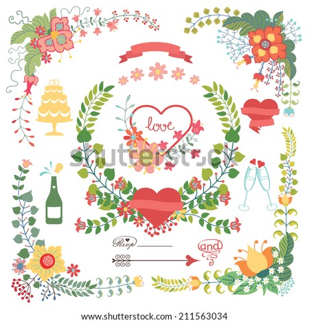 Wedding design template set  in Retro style.Floral wreath,group,hearts,wedding icons. For Wedding  or Valentine day invitation, postcard, greeting card, cover.Festive celebration vector. - stock vector