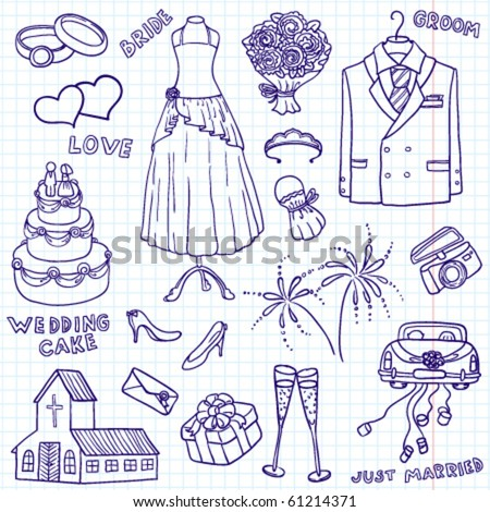 Wedding doodle illustration - stock vector