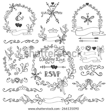 Wedding Doodles floral decor elements set.Swirling border,flowers,branches,wreath,arrow,headline,ribbons.Hand sketched.Design template,invitation,card for holiday,birthday.Vintage Vector - stock vector