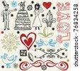 wedding doodles, hand drawn design elements - stock vector