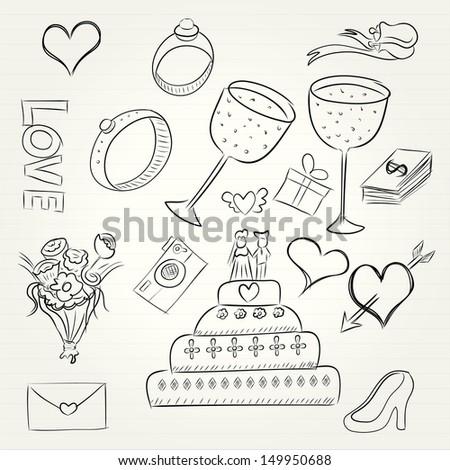 Wedding doodles vector - stock vector