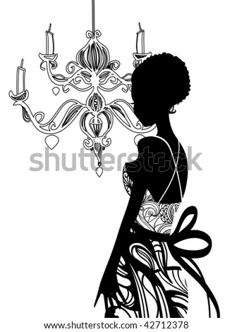 Wedding dress and chandelier - stock vector