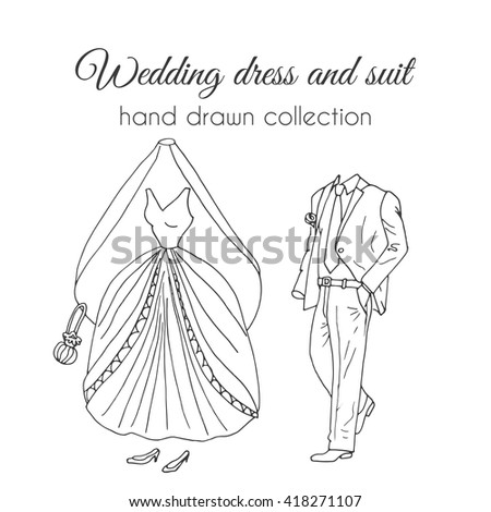 Wedding Dress And Suit Illustration Sketchy Style Hand Drawn Bride Groom Ceremony Wear