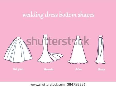 Wedding Dress Bottom Style Set Evening Vector Illustration Line Drawing Mermaid