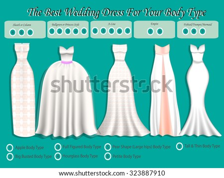 Wedding Dress For Body Type Infographic Set Of Styles