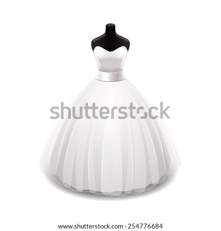 Wedding dress isolated on white photo-realistic vector illustration - stock vector
