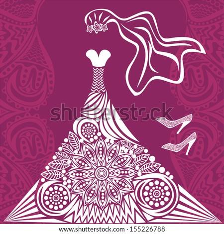 Wedding dress pattern vector illustration - stock vector