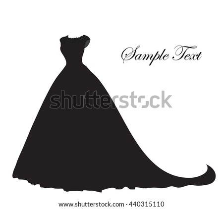 wedding dress silhouette banner blank template stock vector
