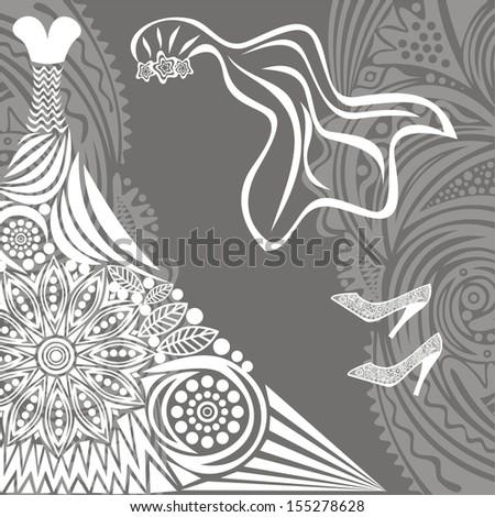 Wedding dress veil shoes vector illustration - stock vector