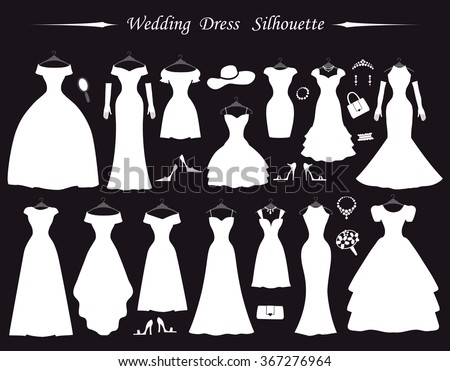 Wedding dresses,Fashion Bride white Dress Silhouette in flat modern style.Vintage vector.Different styles.Bride dresses,accessories,silhouette.Holiday vector background.Bridal shower composition - stock vector