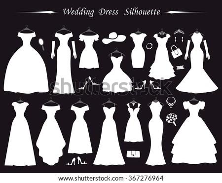 Wedding dresses different stylesfashion bride white stock Wedding dress vector