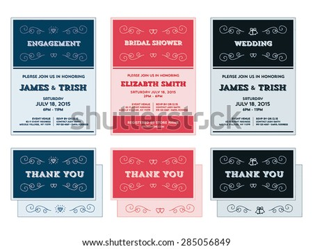 Wedding engagement shower invitation templates vector stock vector wedding engagement shower invitation templates in vector format stopboris Image collections