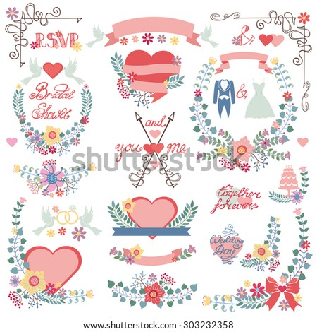 Wedding floral decoration,pink hearts,ribbons.Colored flowers,Flat icons ,swirling borders,branches,wreaths,words,dresses.Vintage vector decor elements set for invitation cards,save date,bridal shower - stock vector