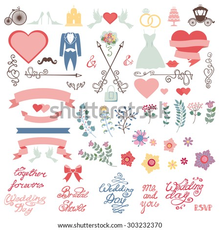 Wedding floral decoration,pink hearts,ribbons.Colored flowers,Flat icons ,swirling borders,branches,words,dresses.Vintage vector decor elements set for invitation cards,save date,bridal shower - stock vector