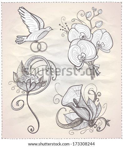 Wedding floral hand drawn graphic set on a paper. Eps10.