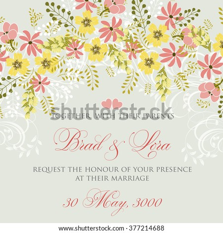 Wedding floral invitation