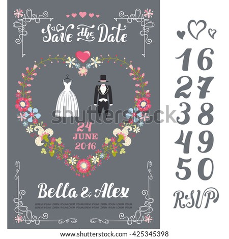 Wedding floral invitation cards.Invite wedding.Vintage vector background wth dresses.Handwriting text,numbers.Illustration.Retro invite flyer, poster. Fashion wear?flowers decor in heart shape
