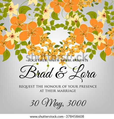 Wedding floral invitation. Invitation or wedding card with abstract floral background.