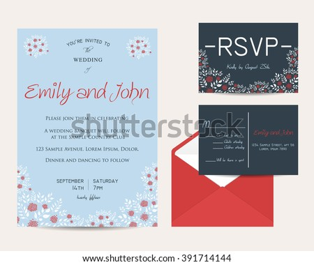 wedding floral set with invitation and rsvp cards - stock vector