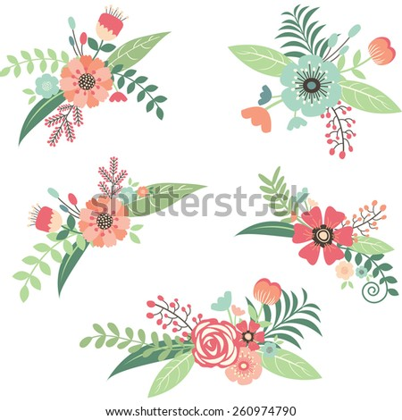 Wedding Flower Bouquet Set - stock vector