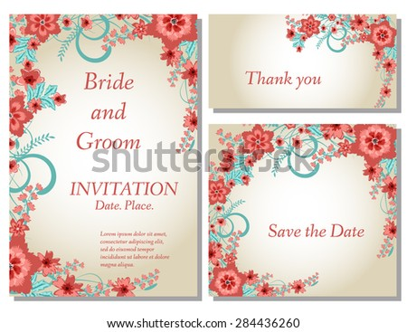 Wedding flower invitation, thank you card, save the date cards. Wedding floral vector set - stock vector