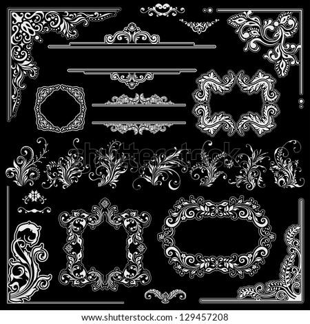 Wedding frames decoration design. Floral ornaments, corners and vintage flowers - stock vector