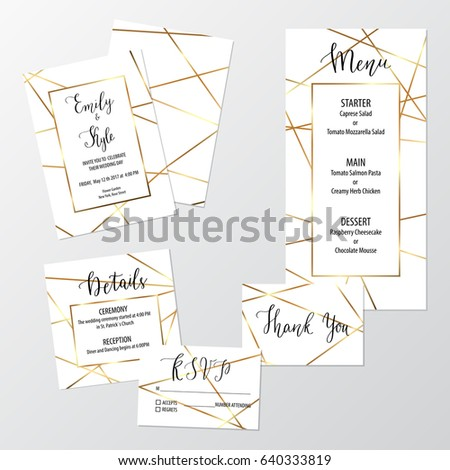 Wedding geometric invite design set gold stock photo photo vector wedding geometric invite design set with gold polygons including invitation menu rsvp thank stopboris Choice Image