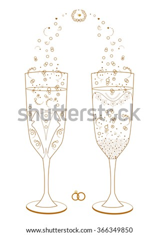 Wedding glasses decorated for the bride and groom