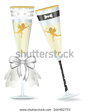 Wedding glasses. The glasses are dressed in costumes of the bride and groom