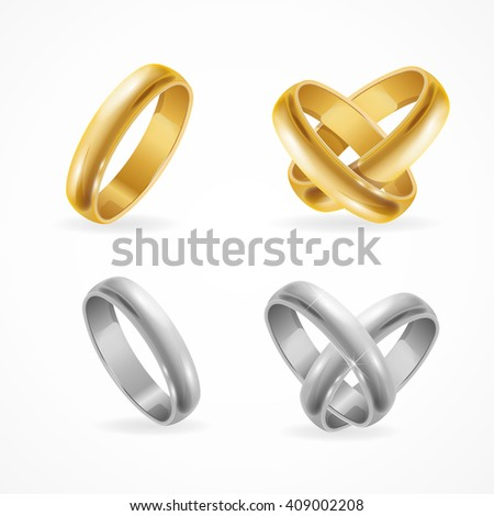 Wedding Gold and Silver Ring Set. Vector illustration - stock vector