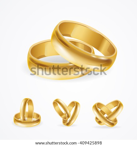 Wedding Gold Ring Set in Pair. Vector illustration - stock vector