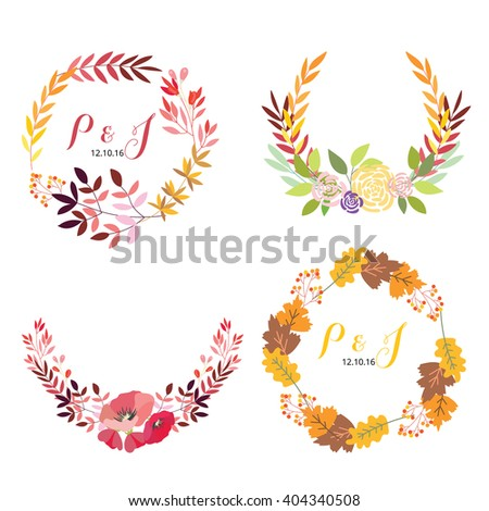 Wedding graphic , flowers, ribbon, floral vector element - stock vector