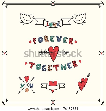 Wedding graphic set, arrows, hearts, ribbons and birds. - stock vector